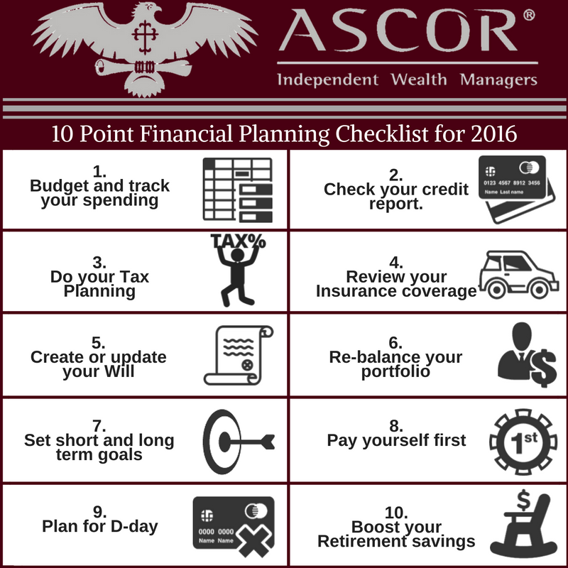 10 point financial planning checklist for 2016 ascor independent