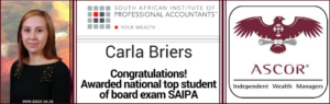 Carla Briers top student award