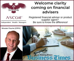Wouter Fourie Sunday times clarity on financial advisers 16Feb2020