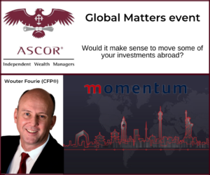 Wouter Fourie Global Matters event to discuss the mechanics of investing abroad 28042020